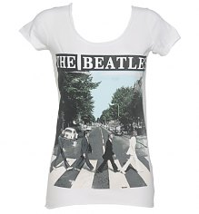 Ladies White Beatles Abbey Road T-Shirt from Amplified Vintage [View details]