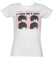 Ladies White Beatles Hard Day's Night T-Shirt [View details]