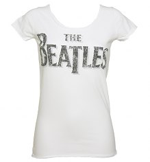 Ladies White Beatles Logo Slim Fit T-Shirt from Amplified Vintage [View details]