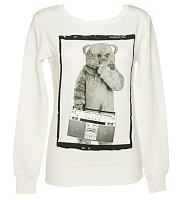Ladies White Boombox Bungle Rainbow Sweater