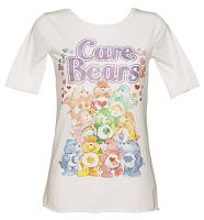 Ladies White Classic Care Bears Slouch Scoop Neck T-Shirt