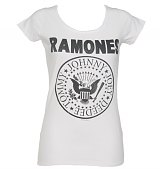Ladies White Classic Ramones Logo T-Shirt from Amplified Vintage