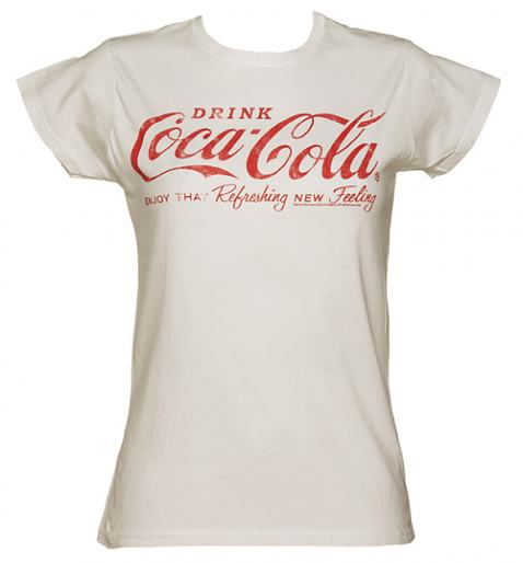 Ladies White Coca-Cola Logo T-Shirt from TruffleShuffle
