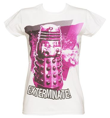 Ladies White Dalek Exterminate Doctor Who T-Shirt