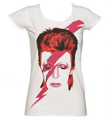 Ladies White David Bowie Aladdin Sane T-Shirt from Amplified Vintage [View details]
