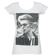 Ladies White David Bowie Photographic T-Shirt from Amplified Vintage [View details]