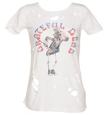 Ladies White Destroyed Skeleton Grateful Dead T-Shirt from Chaser LA [View details]