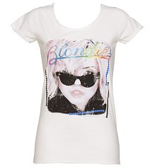 Ladies White Diamante Blondie T-Shirt from Amplified Vintage [View details]