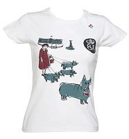 Ladies White Diamond Jubilee Corgi T-Shirt