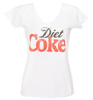 Ladies White Diet Coke V-Neck T-Shirt