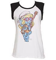 Ladies White Festival Smurfette Baseball Vest from Junk Food