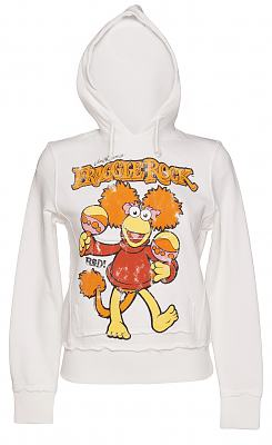 Ladies White Fraggle Rock Red Hoodie