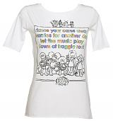 Ladies White Fraggle Rock Theme Tune Slouch Neck T-Shirt