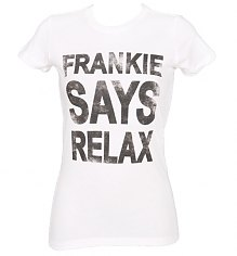 Ladies White Frankie Says Relax T-Shirt [View details]