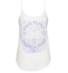 Ladies White French Tour 74 Pink Floyd Strappy Vest from Junk Food [View details]