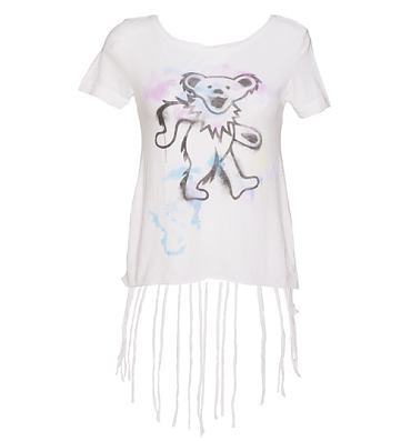 Ladies White Fringe Detail Grateful Dead Bear T-Shirt from Chaser LA
