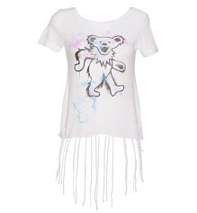 Ladies White Fringe Detail Grateful Dead Bear T-Shirt from Chaser LA [View details]
