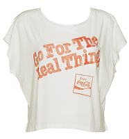 Ladies White Go For The Real Thing Coca Cola Oversized T-Shirt from Junk Food