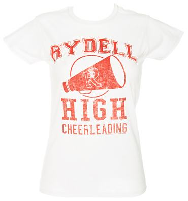 Ladies White Grease Rydell High Cheerleading T-Shirt