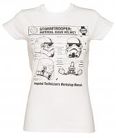Ladies White Haynes Manual Stormtrooper Helmet Star Wars T-Shirt
