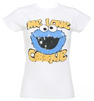 Ladies White Sesame Street Me Love Cookies T-Shirt