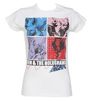 Ladies White Jem And The Holograms Band T-Shirt