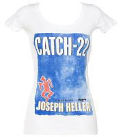 Ladies White Joseph Heller Catch 22 Novel T-Shirt from Out Of Print