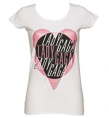Ladies White Lady Gaga T-Shirt from Amplified Vintage [View details]