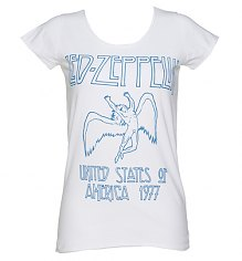 Ladies White Led Zeppelin USA 1977 T-Shirt from Amplified Vintage [View details]
