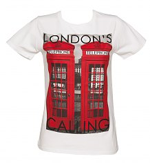 Ladies White Londons Calling Phone Boxes T-Shirt from To The Black [View details]