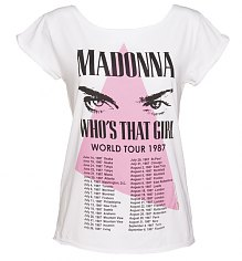 Ladies White Madonna 1987 Boyfriend T-Shirt from Amplified Vintage [View details]