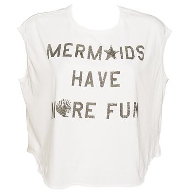 Ladies White Mermaids Have More Fun Cropped T-Shirt from Junk Food