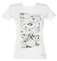 Ladies White Moomins Comic Collage T-Shirt