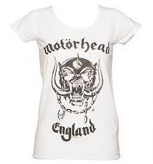 Ladies White Motorhead England T-Shirt from Amplified Vintage [View details]