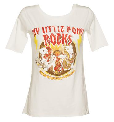 Ladies White My Little Pony Rocks Slouch Scoop Neck T-Shirt