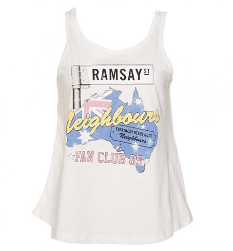 Ladies White Neighbours Fan Club 85 Swing Vest