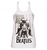 Ladies White Plaited Back US Flag Beatles Vest