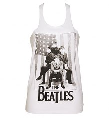 Ladies White Plaited Back US Flag Beatles Vest [View details]