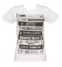 Ladies White Retro Albums T-Shirt from To The Black [View details]