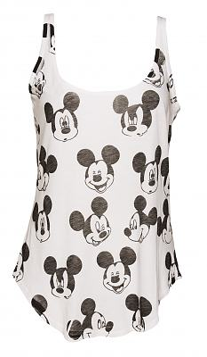 Ladies White Retro Mickey Mouse Pattern Vest from Junk Food