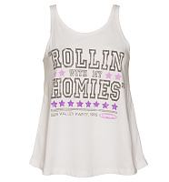 Ladies White Rollin With My Homies Clueless Swing Vest