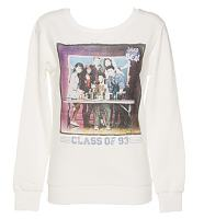 Ladies White Saved By The Bell Class of 93 Photo Print Sweater