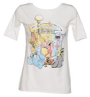 Ladies White Sesame Street 1969 Slouch Scoop Neck T-Shirt