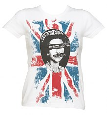 Ladies White Sex Pistols Union Jack Queen T-Shirt [View details]