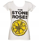 Ladies White Stone Roses Lemon T-Shirt from Amplified Vintage