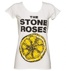 Ladies White Stone Roses Lemon T-Shirt from Amplified Vintage [View details]