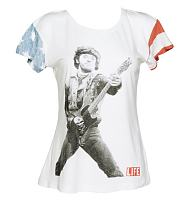 Ladies White The Boss Flag Sleeves Bruce Springsteen Slouchy T-Shirt from Worn By