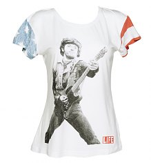 Ladies White The Boss Flag Sleeves Bruce Springsteen Slouchy T-Shirt from Worn By [View details]