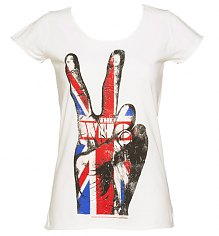 Ladies White The Who V Sign T-Shirt from Amplified Vintage [View details]