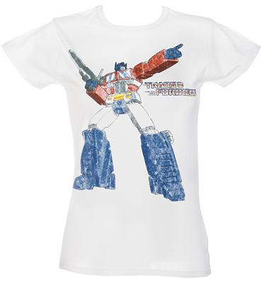 Ladies White Transformers T-Shirt